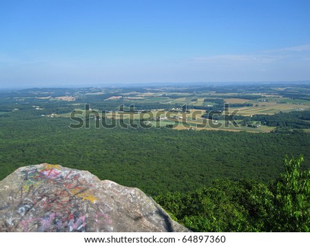 Rock outcropping in the Appalachian Mountains - stock photo