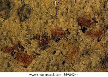 Rock painting, Running Antelope, Eastern Cape, South Africa - stock photo