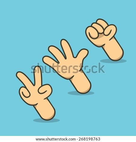 Rock Paper Scissors illustration - stock photo