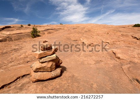 rock pile marking backpacking back-country trail in Utah  - stock photo