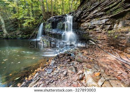 Rock River Falls in the Upper Peninsula of Michigan - Early Autumn - stock photo