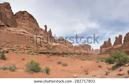Rock rock monument formation Panorama - stock photo