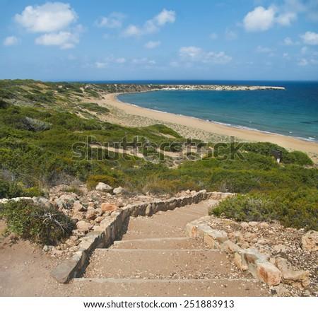 rock staircase to turtle beach on akamas peninsula, cyprus - stock photo
