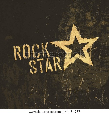 Rock star grunge icon. With stained texture. Raster version, vector file available in my portfolio. - stock photo
