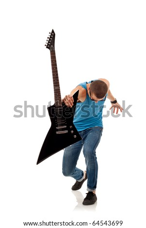 rock star holding an electric guitar in his fron, over white - stock photo