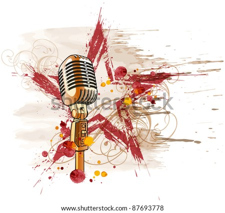 Rock star. Microphone, grunge watercolor star & floral ornament. Bitmap copy my vector ID 14649700 - stock photo