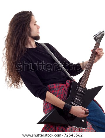 Rock star with a guitar isolated over white background - stock photo