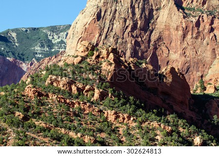 Rock wall in Kolob Canyons section of Zion National Park - stock photo