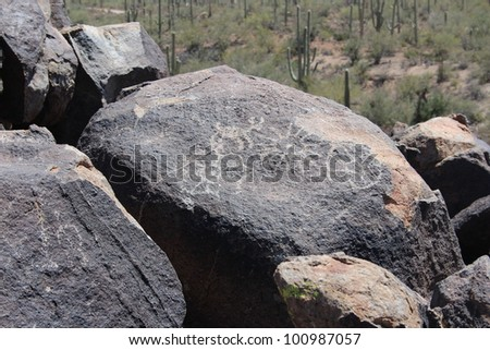 Rock with Pictographs in Arizona Saguaro National Park West - stock photo