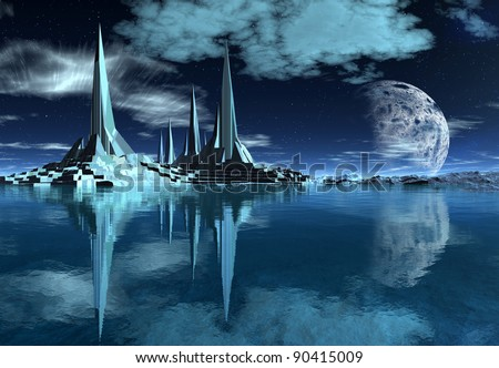 Rocket City on an Alien Planet, military outpost on a fantasy alien planet, science fiction scene - stock photo