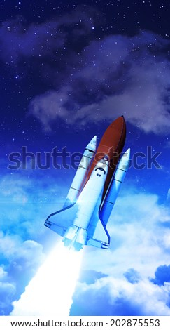 Rocket in Atmosphere - Elements of this Image Furnished By NASA - stock photo