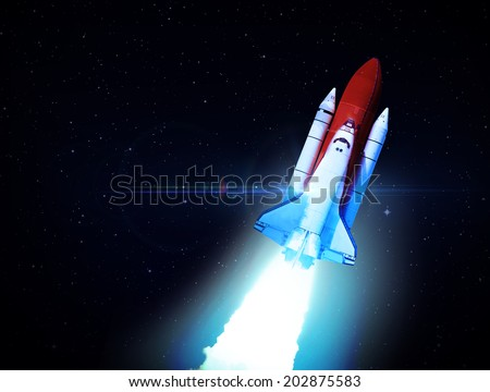 Rocket In Deep Space - Elements of this Image Furnished By NASA - stock photo