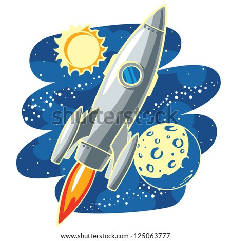 Rocket in Space -  rocket flying through Outer Space - raster version of vector file - stock photo