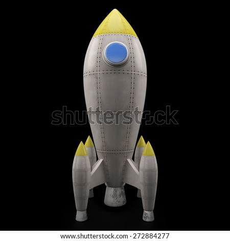 Rocket isolated on black background (3D Render) - stock photo