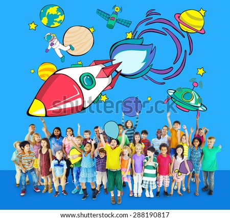 Rocket Launch Space Outer Space Planets Concept - stock photo