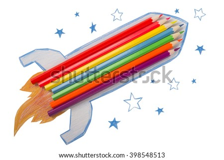 rocket made from pencils on a white background - stock photo