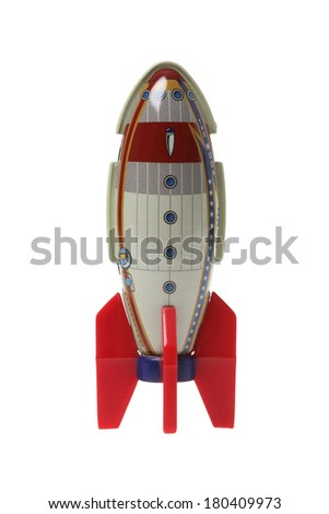 rocket metal toy on white  - stock photo