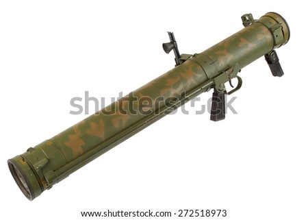 rocket propelled grenade launcher isolated on white - stock photo