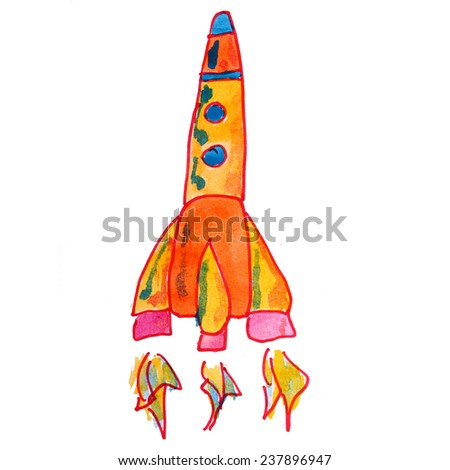 rocket   watercolor  drawing  isolated on  white  background - stock photo