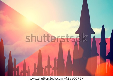Rockets silhouettes background Czech flag. Toned - stock photo