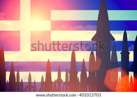 Rockets silhouettes background Greece flag. Toned - stock photo