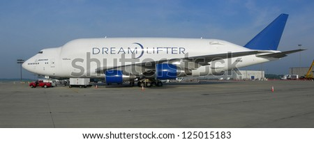 ROCKFORD, IL- AUGUST 1: Boeing 747 Dreamlifter during preflight checkout. The Dreamlifter is used to transport 787 Dreamliner fuselage modules from around the world. August 1, 2010 Rockford, IL - stock photo
