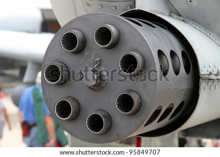 ROCKFORD, IL - JULY 31: Rotary machine gun of the A-10 Thunderbolt airplane in close view at the annual Rockford Airfest on July 31, 2010 in Rockford, IL - stock photo