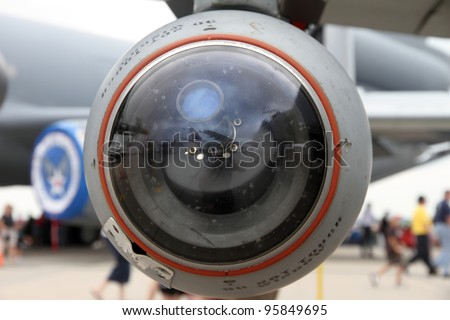 ROCKFORD, IL - JULY 31: Wing missile of the A-10 Thunderbolt airplane in close view at the annual Rockford Airfest on July 31, 2010 in Rockford, IL - stock photo