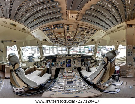 ROCKFORD, IL- JUNE 7: Boeing 767 aircraft cockpit on display at the June 2014 Rockford AirFest June 7, 2014 Rockford, IL - stock photo