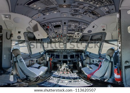 ROCKFORD, IL- JUNE 2: C-40C 737 United States Air Force operational support and team travel aircraft cockpit on display at the June 2012 Rockford AirFest June 2, 2012 Rockford, IL - stock photo