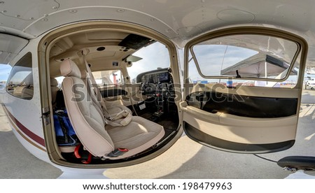 ROCKFORD, IL- JUNE 7: SOUTHERN ILLINOIS UNIVERSITY Cessna model 172R on display at the June 2014 Rockford AirFest June 7, 2014 Rockford, IL - stock photo