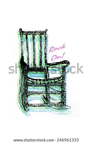 Rocking Chair Illustration Sketch - stock photo