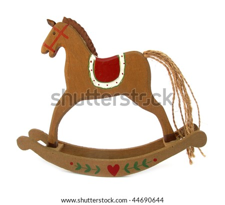 Rocking horse wooden toy - stock photo