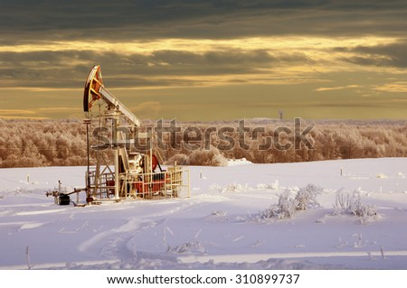 rocking oil. Oil pumps. Oil industry equipment. winter landscape. winter landscape oil pump near coniferous forest in sunny cold day - stock photo