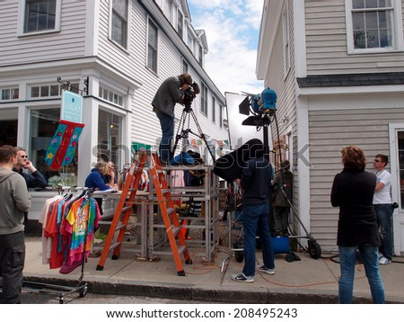 ROCKPORT, MASSACHUSETTS - 06 JUNE 2014: Large Crew films scene in historic area on June 6, 2014 in Rockport, Massachusetts. - stock photo