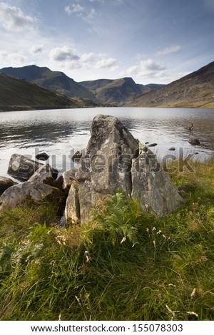 rocks and mountains in snowdonia, north wales - stock photo