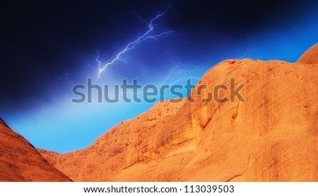 Rocks and Mountains of Australian Outback, Northern Territory - stock photo