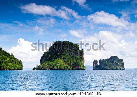 rocks and sea in Krabi Thsiland - stock photo