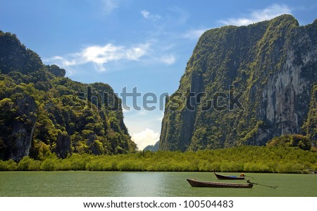 rocks and sea in Thailand - stock photo