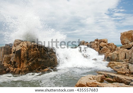 rocks and waves - stock photo