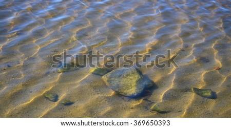 rocks beneath the water surface, Czech Republic - stock photo