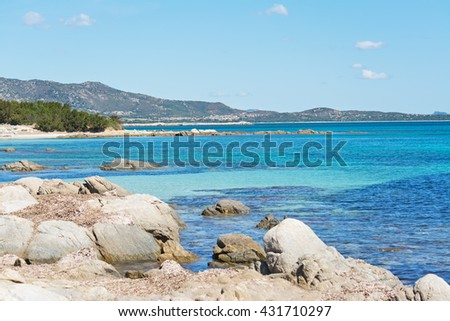 rocks in Cala d'Ambra beach in San Teodoro, Sardinia - stock photo