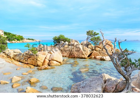 rocks in Capriccioli beach, Sardinia - stock photo