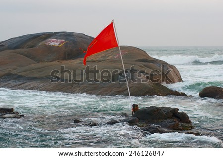 Rocks in the sea. Kanyakumari in Tamil Nadu, India - stock photo