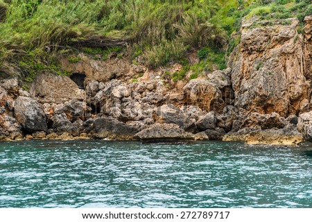 Rocks near the historic town of Antalya, Turkey - stock photo