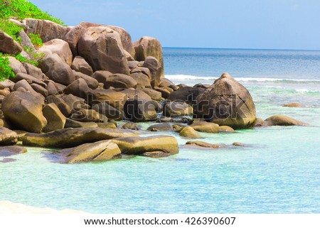 Rocks Ocean Summer  - stock photo