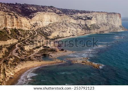 rocks of the peninsula Akrotiri, Cyprus - stock photo