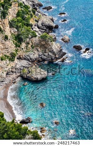 Rocks on the Amalfi coast, Gulf Naples, Italy - stock photo