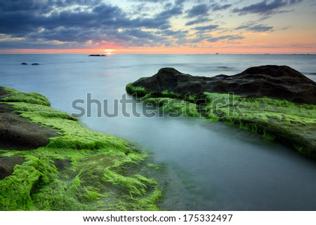 Rocks with green moss at sunset in Sabah, Borneo, Malaysia - stock photo