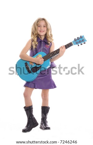 rockstar child playing guitar - stock photo
